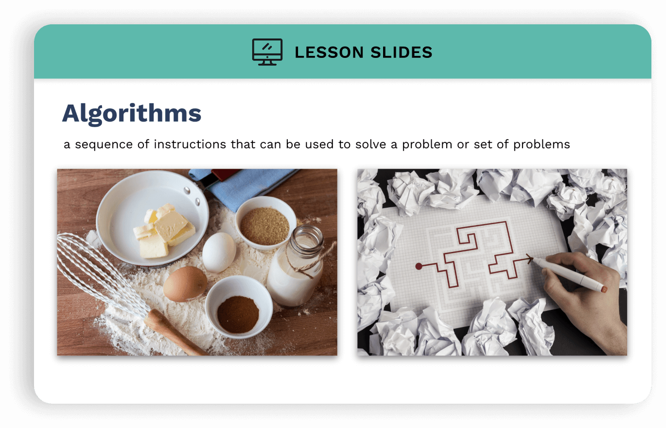 Slideshow image with heading text: Algorithms. Beneath heading a picture of baking ingredients and a maze.