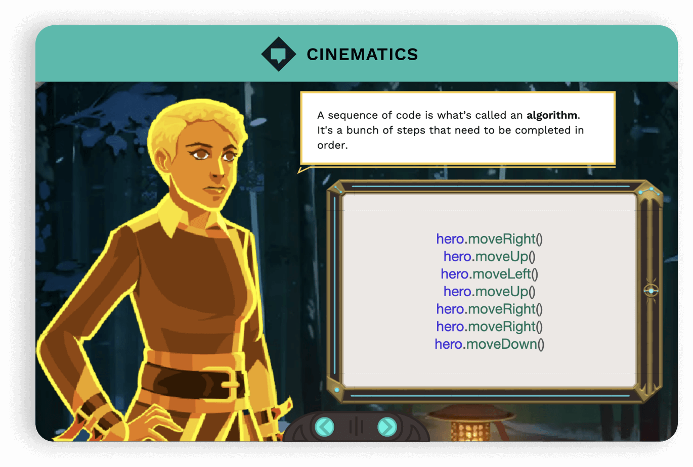 Example of cinematic. Close up of Vega character with speech bubble that says 'A sequence of code is what's called an algorithm. It's a bunch of steps that need to be completed in order.'
