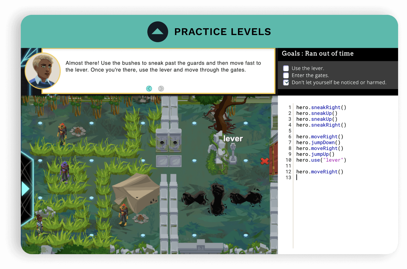 Screenshot of a practicel level. Level on the left with student's code on the right.